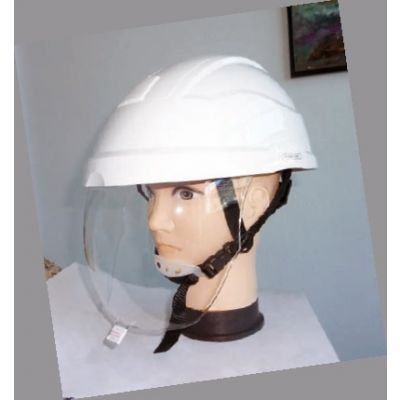 Casco seguridad blanco con barbuquejo