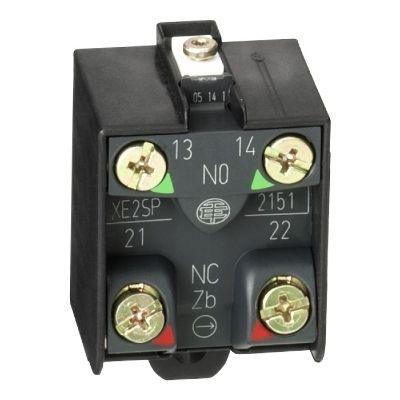 Limit switch contact block, 1NC+1NO, snap action