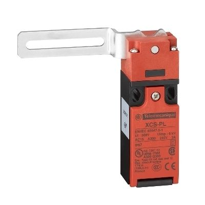 Safety switch xcspl, elbowed flush lever, to left, 1nc+1no -m16